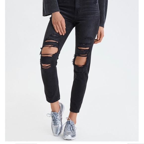 American Eagle Outfitters Denim - Black x-short mom jeans